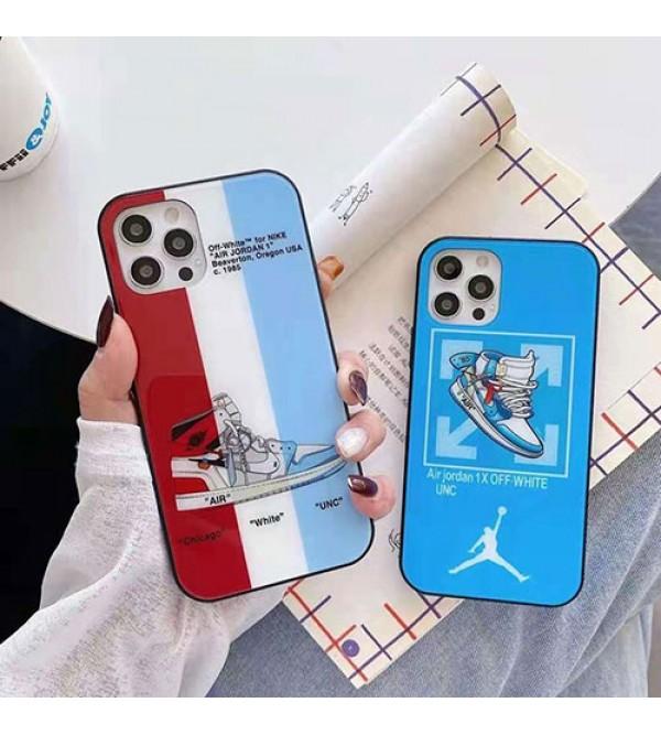 オフホワイト ブランド キラキラ iphone13/12/12pro max/12 miniケース ガラス製ケース ナイキ Air Jordan 個性潮 ジョーダン iphone x/xr/xs/xs maxケース ファッション ins風 アイフォン7/8/ se2ケース 大人気 メンズ レディース