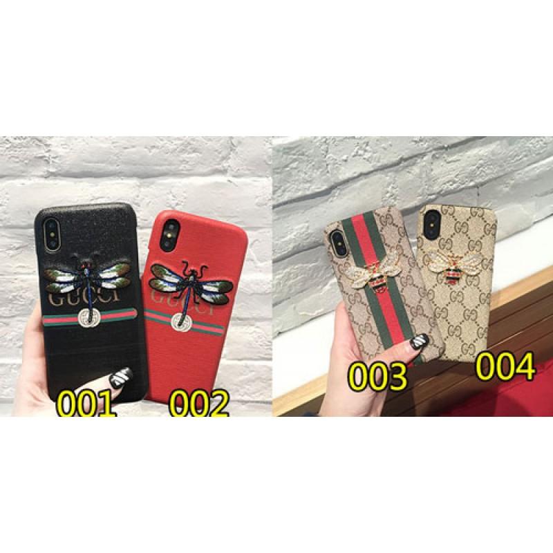 ブランドgucci IphoneXカバー グッチ Iphone8/7 Iphone8plus/7plusスマホケース Iphone6/6s Plus Iphone6/6sジャケット ケース 刺繍 立体のミツバチ付き