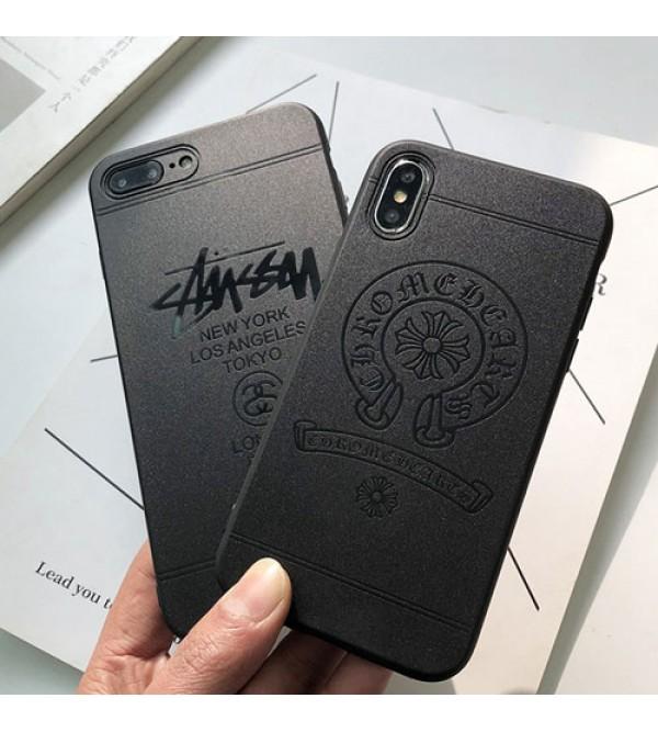 supreme iPhoneXカバー stussy/chrome hearts アイフォンXケース iPhone8/7/6 plusケース iphone 12 ケースブランドシュプリーム/ステューシー/クロムハーツ エコ素材 無臭 研磨