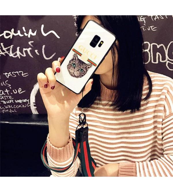 iphone 12ケースブランドgucci galaxy S10+/S10ケース グッチ iphone xr/xs max/se2ケース Galaxy Note8カバー ギャラクシーS8+/S8/S7edge/S6スマホケース ハンドとネックストラップ付き 猫絵柄