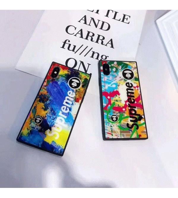 Supreme & Bape コラボ iphone 13 pro/13 pro max/13 mini/12ケース ブランド 個性 鮮やか色 IPhoneX/Iphone se2/8/7ケース カラー シュプリーム 直角 Iphone6/6s Plus/6sカバー ジャケットケース