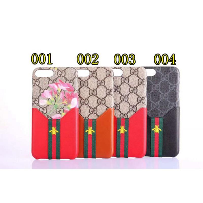 ブランドgucci IphoneXカバー グッチ Iphone8/7 Iphone8plus/7plusスマホケース Iphone6/6s Plus Iphone6/6sジャケット ケース カード入れ ミツバチ絵柄