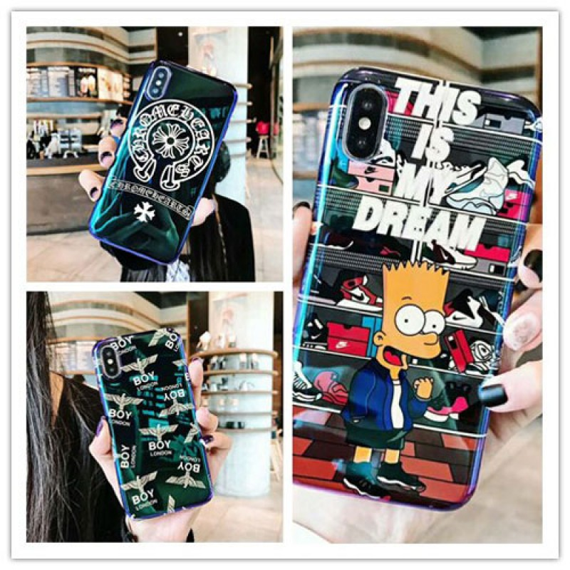 iphone 12 ケースブランドchrome hearts iPhone xケース boy london iphone se2/8/7plusスマホケース Iphone6/6s Plus Iphone6/6sカバー ジャケット ブルーライン