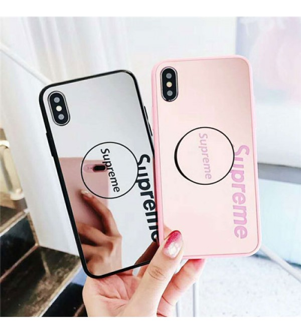 supreme iPhone xr/xs max/xsケース シュプリーム iphone x/8/7スマホケース ブランド Iphone6/6s Plus Iphone6/6sカバー ジャケット 支え付き 鏡面