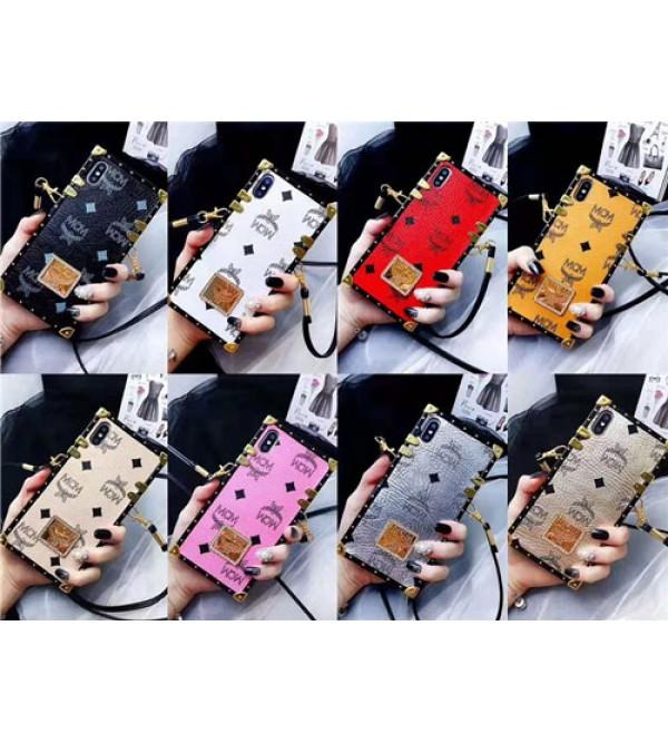 iPhone 12ケースブランドMCM Galaxy S10/S10+ケース iPhone xr/xs max/xsケース エムシーエム iphone x/8/7/se2スマホケース ジャケット Iphone6/6sカバー 箱デザイン ストラップ付き