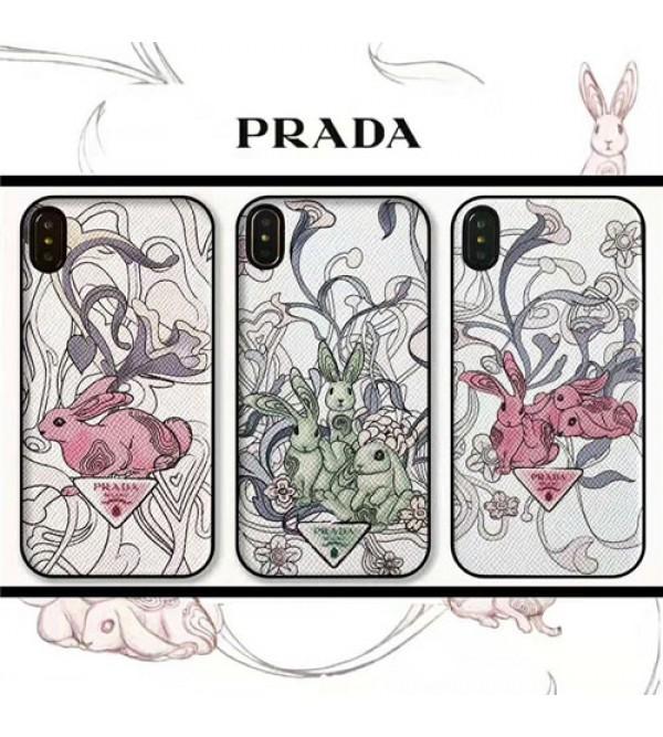 ブランドprada iPhone xr/xs max/xsケース プラダ iphone x/8/7スマホケース ジャケット Iphone6/6sカバー 兎絵柄 ストラップ付き
