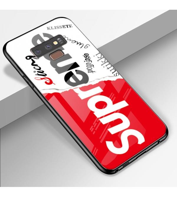 シュプリーム supreme iphone xrケース galaxy S10プラスケース 人気 ブランド galaxy   S10ケース iphone xs max/x/10/8plusケース ギャラクシーS9/S8plusケース ジャケット 背面ガラス 芸能人愛用