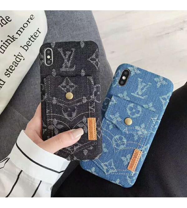 ルイヴィトン iphone 11/11pro max/xrケース iphone xs maxケース カード入れ 収納 オシャレ iphone xs/x/10/se2/8/7/6plusケース iphone 10ケース メンズ レディズ デニム 人気 ブランド 耐衝撃
