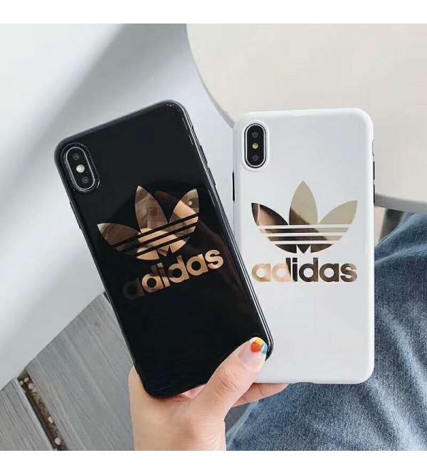 adidas アディダス iphone 11/11 pro/'xrケース 人気 ブランド iphone xs maxカバー Burberry バーバリー iphone xs/x/8Plusケース 光沢感 オシャレ 個性潮流 芸能人愛用 激安販売