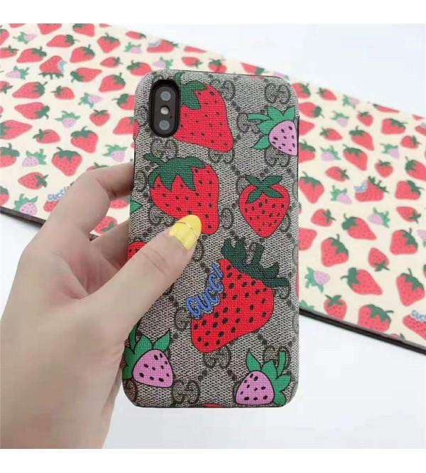 iphone12ケースグッチ GUCCI galaxy S10plusケース iphone xrケース いちご 人気 ブランド galaxy S10ケース iphone xs max/x/10/8plus/se2ケース おしゃれ galaxyS9/S8plusケース 可愛い 芸能人愛用