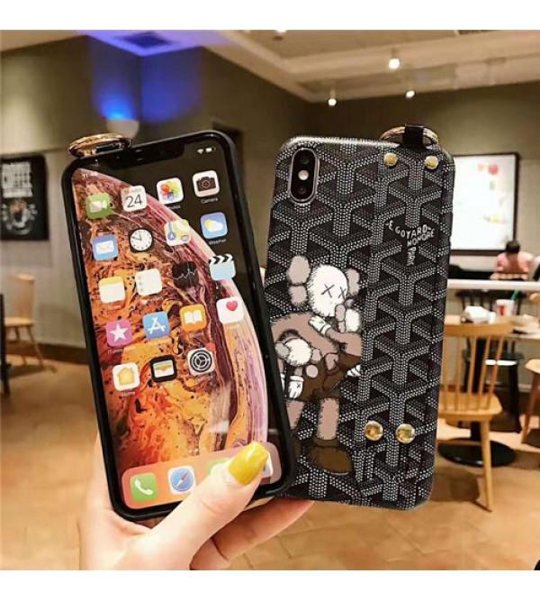 Goyard ゴヤール iphone xr/xs maxケースブランド 可愛いKAWS iphone 11/XI Plus/se2ケース ハンドベルト付きアイフォン x/8/7 plusケースオシャレ男女兼用