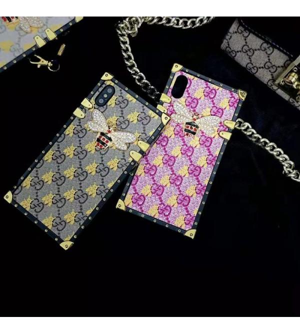グッチ iphone XI/11 max/se2ケース gucci アイフォン xr/xs  maxケース トランクデザイン iphone x/8/7 plusケース ストラップ付き ファッションお洒落 ミツバチ付き大人気
