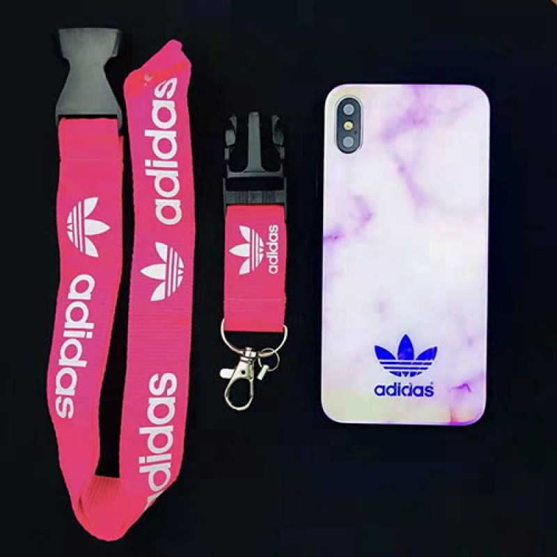 Adidas アディダス iphone XI/11 Max/se2ケースブランドスポーツ風 iphone xr/xs maxケース オシャレ大理石紋 アイフォン x/8/7 plusケース ファッションストラップ付き 男女兼用