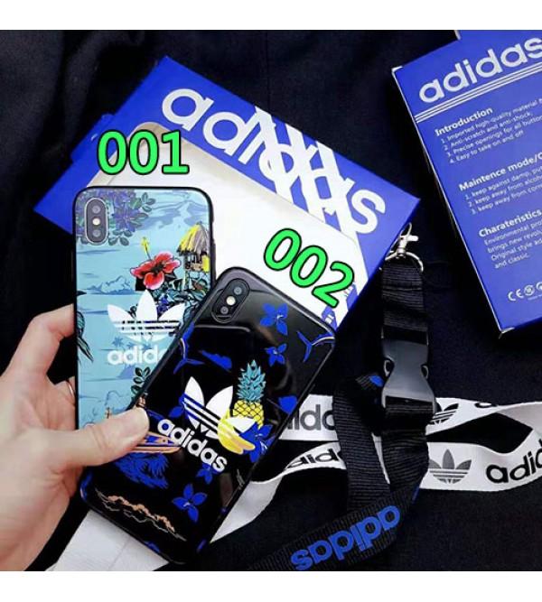 adidas アディダス iphone XI/XR Max/se2ケース スポーツ風 iphone xr/xs maxケース 花柄アイフォン x/8/7 plusケース オシャレ ファッション大人気