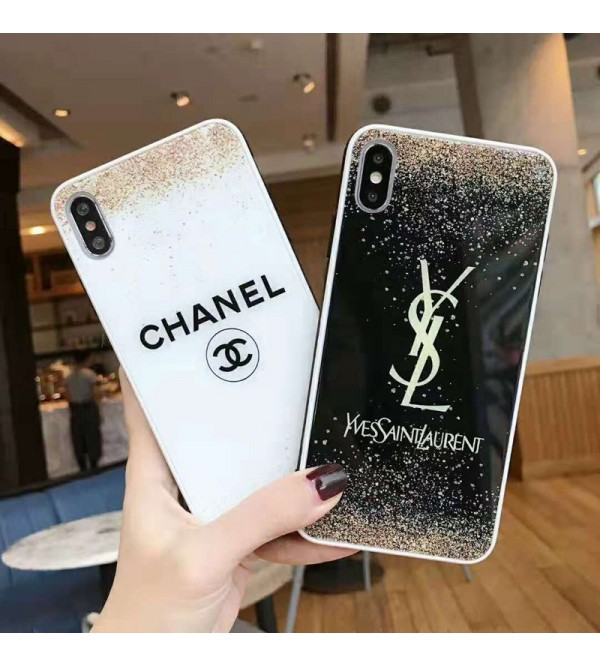 iphone 12 ケースシャネル  YSL iphone 11/11pro max/se2ケース ブランド iphone xr/xs  maxケース キラキラオシャレ アイフォン x/8 plusケース ファッション優雅ガラス表面スマホケース