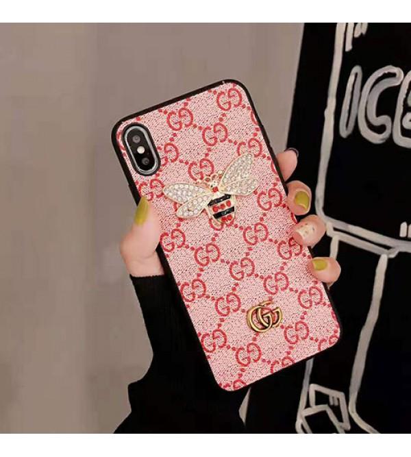 グッチ iphone 11/11 pro max/se2ケースブランド iphone xr/xs maxケースお洒落 ギャラクターGalaxy s10/s10e/s9 plusケース ダイヤモンドミツバチ付き iphone x/8/7 plusケース ファッション大人気
