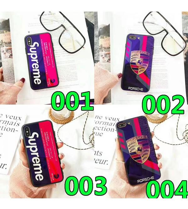 シュプリーム iphone 11/11pro max/se2ケースブランド iphone xr/xs maxケース個性潮流 アイフォン x/8/7 plusケース 青い光ガラス表面 お洒落人気