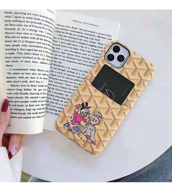 GOYARD ゴヤール iphone 11/11pro max/se2ケースiphone12/12 mini/12 pro/12 pro maxケースブランド人気 キャラクター iphone xr/xs maxケース カードポケット付き アイフォン x/8/7 plusケース 個性ファッション可愛い