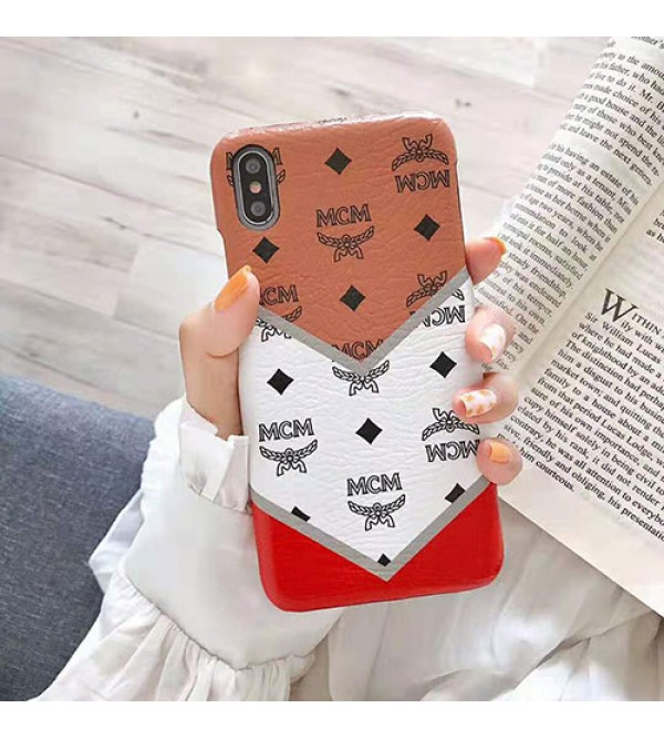 iphone 12 ケースMCM iphone 11/11pro max/se2ケース エムシーエム ブランド iphone xr/xs maxケース 韓国風Galaxy s10e/s10+ケース お洒落混色 アイフォン x/8/7 plusジャケット型ケース耐衝撃 保護性