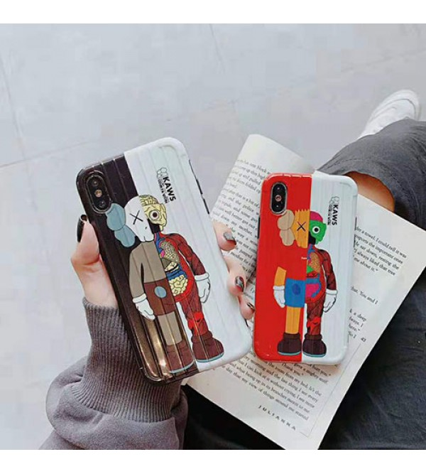 KAWS iphone 11/11pro max/se2ケース 個性ブランド iphone xr/xs maxケース キャラクター付き iphone x/8/7 plusケース パロディ風 ファッション人気