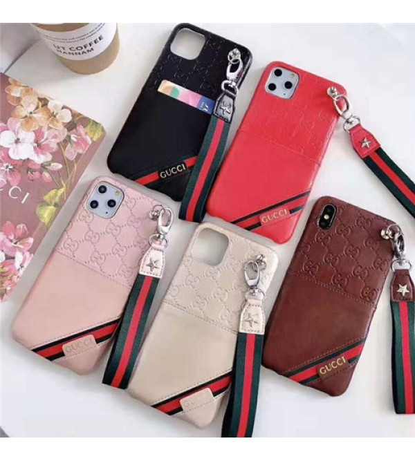 グッチ iphone11/11pro/11 pro max/se2ケース ブランド iphone xr/xs maxケースgucci アイフォン x/8/7 plusケース カードポケットストラップ付き