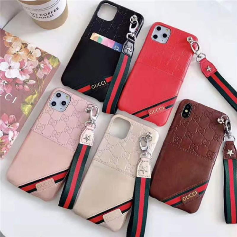 iphone 12ケースグッチ iphone11/11pro/11 pro max/se2ケース ブランド iphone xr/xs maxケースgucci アイフォン x/8/7 plusケース カードポケットストラップ付き