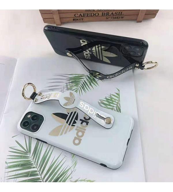 iphone 12 ケースADIDAS アディダス iphone 11/11pro max/se2ケースブランド iphone xr/xs maxケーススポーツ風 iphone  x/8/7 plusケースおしゃれハンドベルト付きホットスタンビングロゴ 耐衝撃