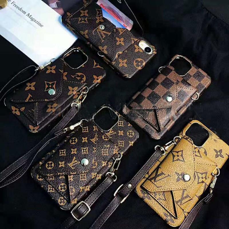 iphone 12ケースルイヴィトン iphone11/11  pro max/se2ケース ブランド iphone xr/xs maxケース モノグラムダミエ アイフォン x/8/7 plusケース ポケットストラップ付きオシャレファッション