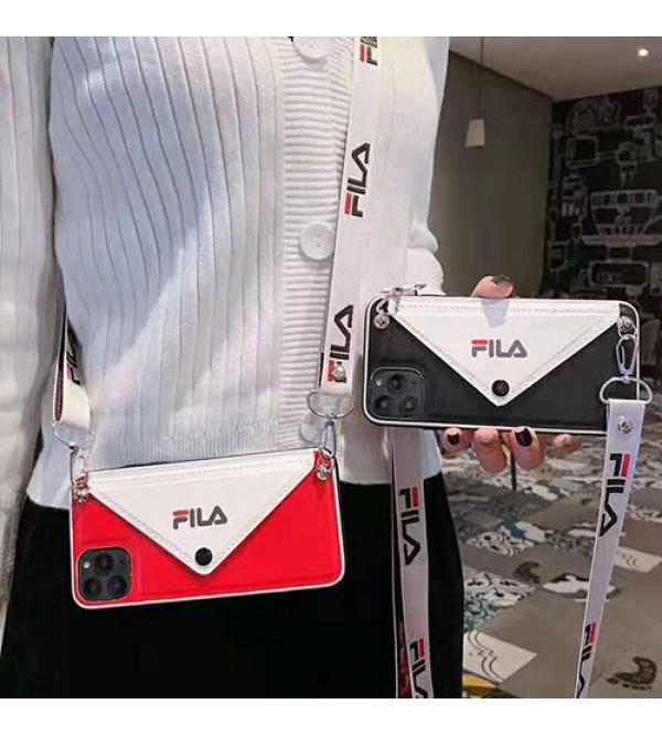 FILAフィラ iphone11/11pro max/se2ケースブランド iphone xr/xs maxケースカードポケット付きアイフォンx/8/7 plusケースストラップ付き ファッション潮流