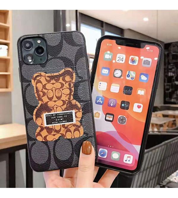 iphone 12/12 mini/12 pro/12 pro maxケースコーチ coach iphone11/11pro max/se2ケースブランド iphone xr/xs  maxケースクマちゃん付き iphone x/8/7 plusケースファッション人気 耐衝撃 保護