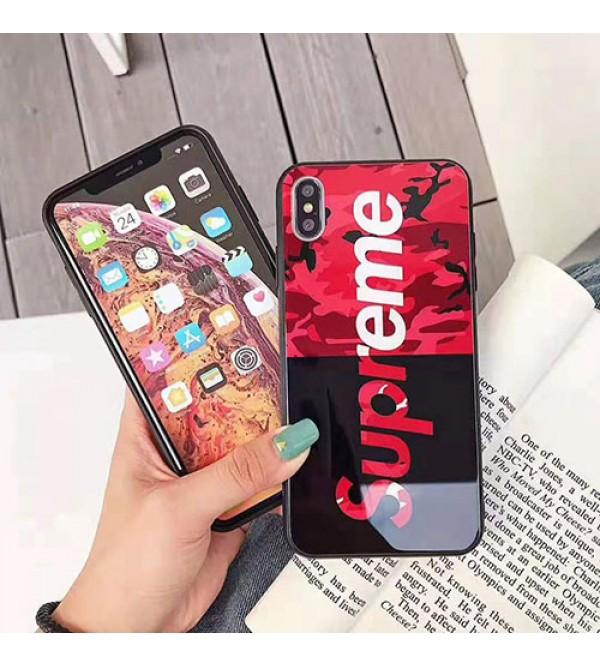 シュプリーム iphone11/11 pro max/se2ケース ブランド iphone xr/xs maxケース個性迷彩 アイフォン x/8/7 plusケース ファッション潮流 ガラス表面 人気
