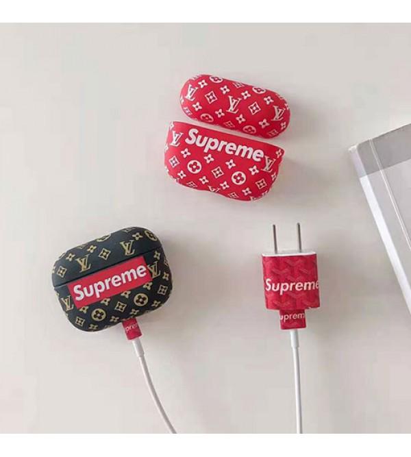 SupremeシュプリームAirPods proイヤホーンケース充電対応オシャレシュプリームAirPods proカバー紛失防止BluetoothワイヤレスAirPods proカバー全面保護 紛失防止 脱着簡単ケース