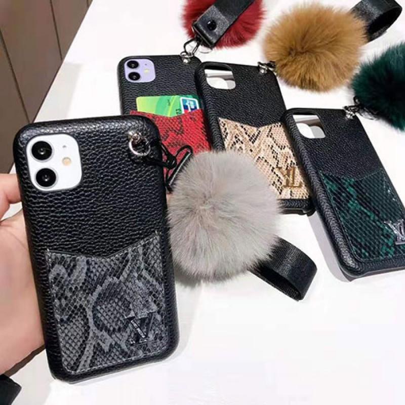 ルイヴィトン iphone11/11 pro max/se2ケースブランド iphone xr/xs maxケース カードポケット付き アイフォンx/10/8/7  plusケースストラップ付きモコモコ お洒落ファッション人気