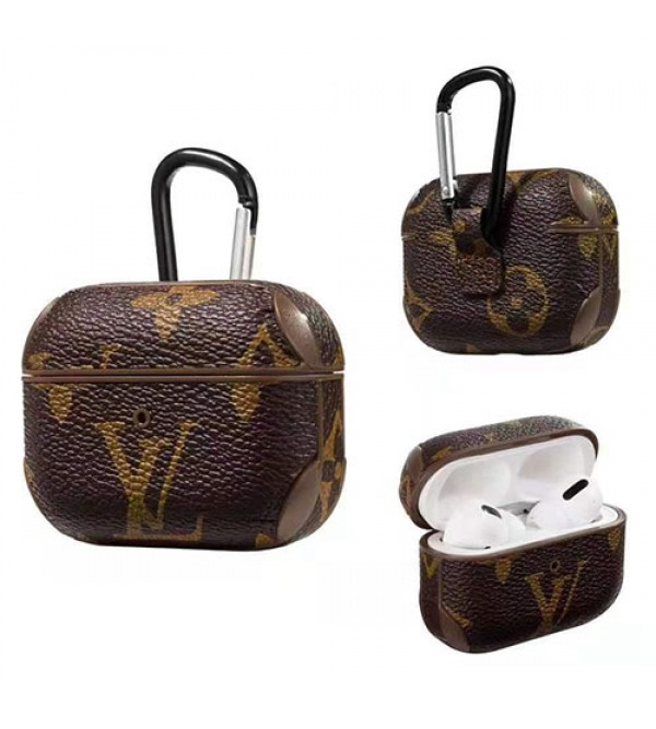 LV ルイヴィトン AirPods 1/2/3/proケース ブランド エアーポッズ1/2/3プロ収納ケース 保護 airpodsケース 紛失防止 落下防止 フック付き 携帯便利