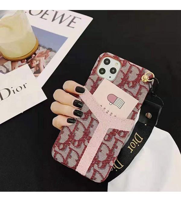iPhone12 ケースディオール iphone11/11pro max/se2ケースブランドdior iphone xr/xs maxケースお洒落 カードポケット付き iphone x/8/7 plusケースファッション新品 女性向けストラップ付き