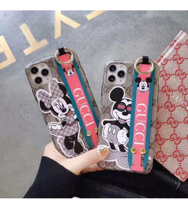 グッチ iphone11/11pro max/se2ケースブランド iphone xr/xs  maxケース可愛いミッキー付き iphone x/8/7 plusケースお洒落人気ハンドベルト付き