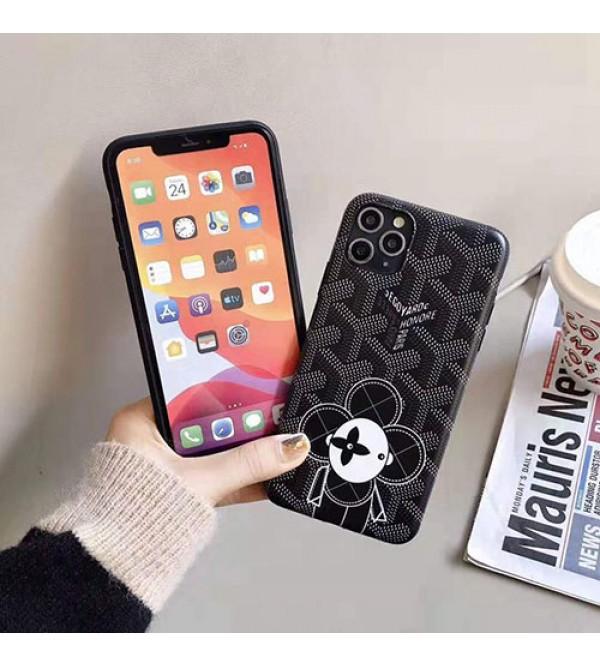 ゴヤールiphone se2/11/11pro maxケースブランド iphone xr/xs maxケース可愛いひまわり付きアイフォンx/8/7 plusケース ファッション大人気 男女兼用