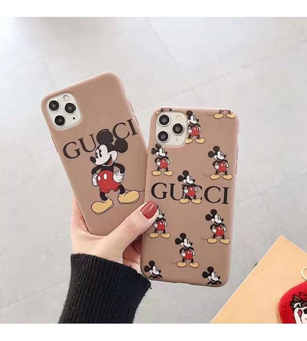 グッチ iphone11/11pro maxケースブランド iphone xr/xs max/se2ケース 可愛いミッキー付きアイフォン x/8/7 plusケースお洒落経典ジャケット
