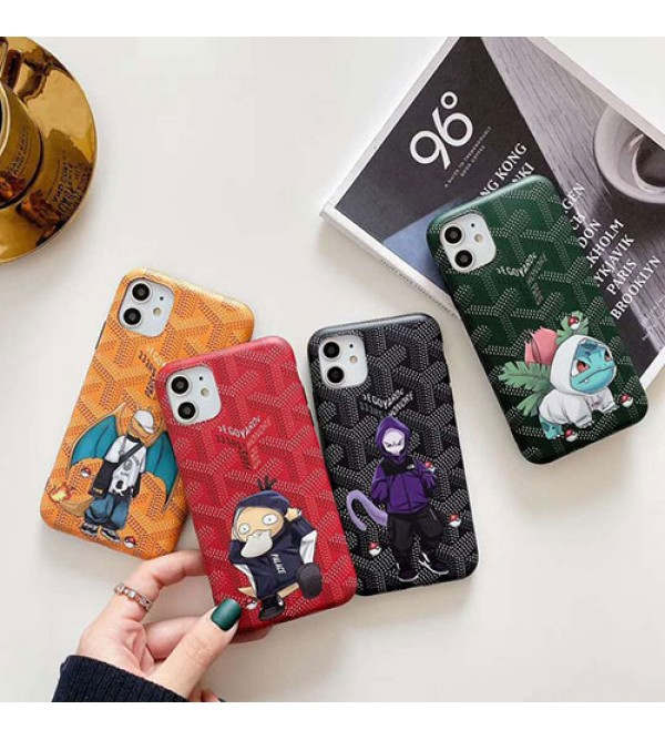 ブランドゴヤールiphone11/11pro/11pro max/se2ケース可愛いアニメ人物付きiphone x/xs/xr/xs maxケース潮流iphone7/8/plusケース個性 ファンション カッコイイ