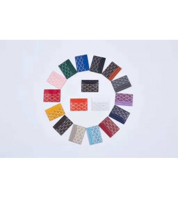 GOYARD ゴヤール ブランド カードケース ユニーク設計 レザー製 ステッチ カード収納 薄型 財布型 激安 人気通販 メンズ レディース 17色