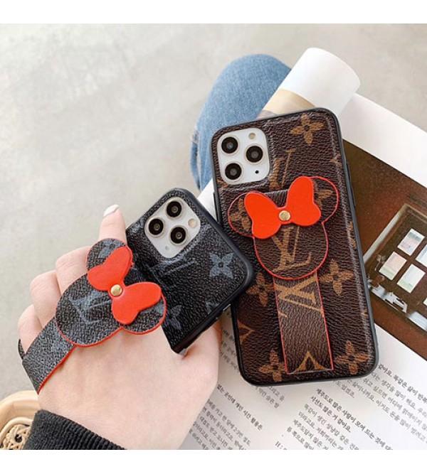 iphone 12 ケースルイヴィトン lv iphone11/11pro max/se2ケースブランド iphone xr/xs maxケース 可愛いミッキー 付き アイフォン x/8/7 plusケース ハンドベルト付き お洒落ファッション