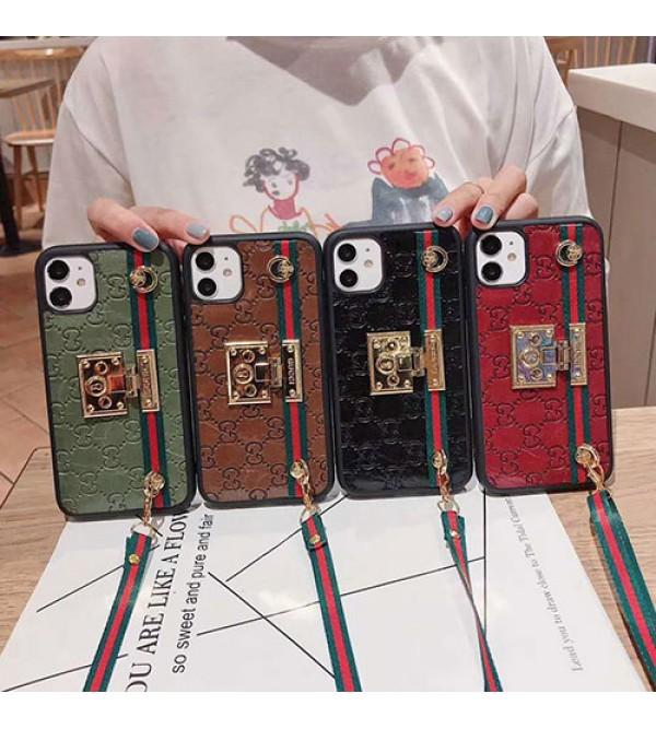Gucci/グッチiphone 12ケース ビジネス ストラップ付きアイフォンiphonex/8/7 plus/se2ケース ファッション経典 メンズシンプル ジャケットメンズ iphone11/11pro maxケース 安い