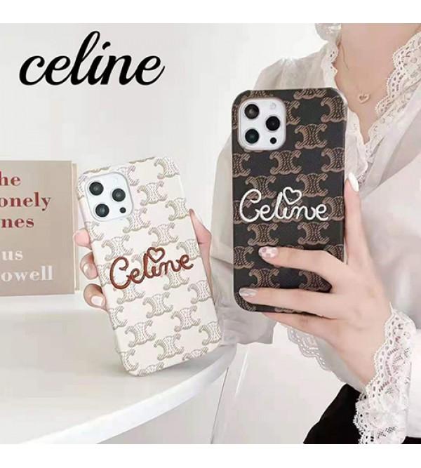 Celine/セリーヌ ブランド iphone13 pro/13 mini/13 pro maxケース ジャケット型 革製 刺繍 モノグラム 韓国風 アイフォン13/13プロ/13ミニ/12 pro maxカバー 安い IPHONE X/XS/XR/8/7携帯ケース 芸能人愛用 メンズ レディーズ