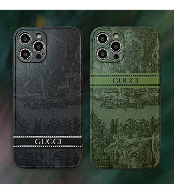Gucci/グッチ iphone ハイブランド 13 mini/13 pro/13 pro maxケース  経典 絵柄 モノグラム 四角保護 ジャケット型 シンプル アイフォン13/12/11/x/xs/xrカバー メンズ レディース