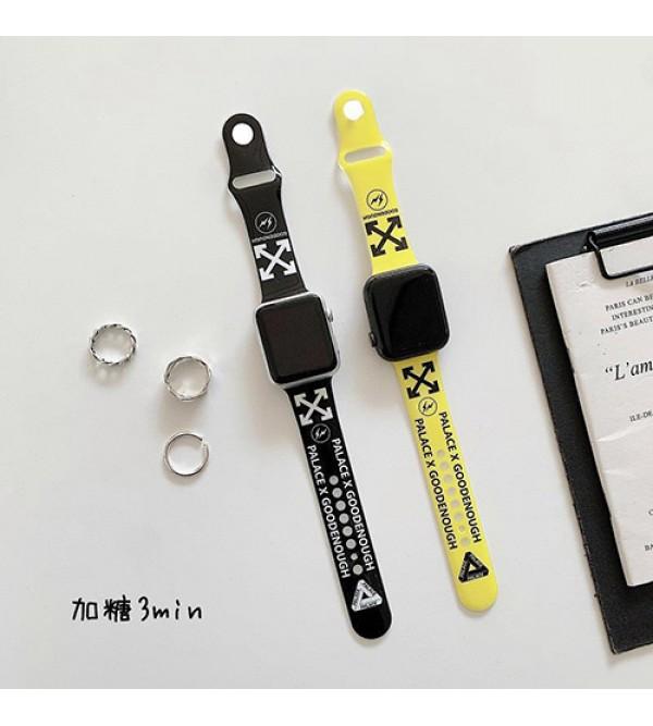 オフホワイト ブランド OFF-WHITE アップルウォッチ 7/6/5/4/SEバンド 人気 シリコン Apple Watch 7/6/SE 腕時計ストラップ ベルト 芸能人愛用 メンズ レディース