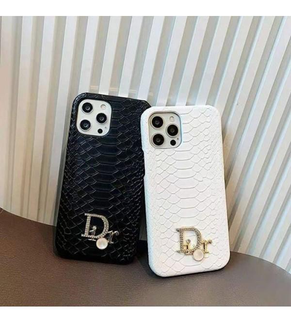 Dior/ディオール ブランド iPhone 13/12s/13 pro/13 pro maxケース 個性 カッコイイ ヘビ柄 モノグラム レザー ジャケット型  アイフォン13/12/11/x/xs/xr/8/7カバー 黒白色 メンズ レディース