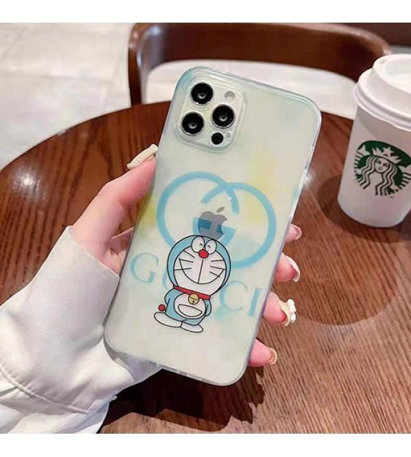 グッチ ドラえもん コラボ ブランド iphone13/12s mini/13 pro maxケース おしゃれ クリアケース Gucci x Doraemon モノグラム 耐衝撃 アイフォン13プロ/12/11/x/8/7カバー  ファッション レデイーズ