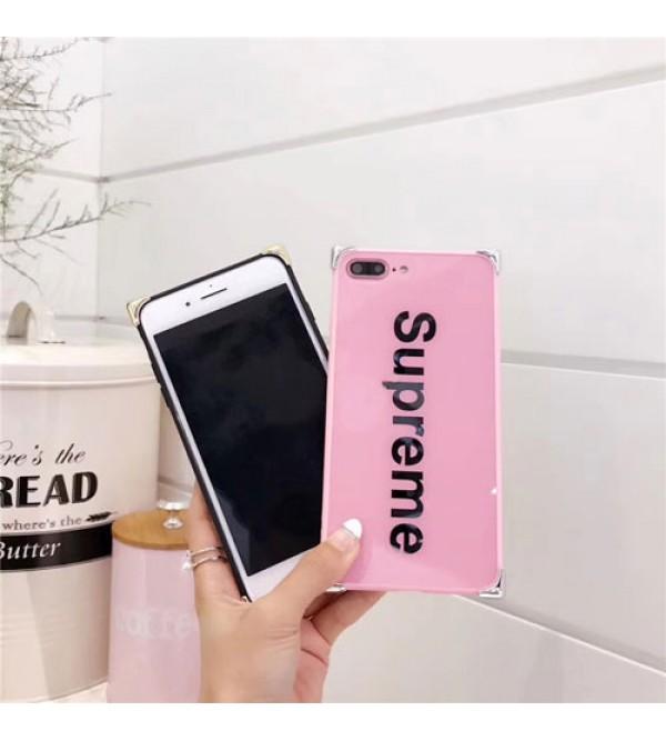 アイフォン7プラスカバー シュプリーム iPhone8ケース ジャケットピンク+黒 simple wind iPhone6/6s plus 男女兼用 大人気