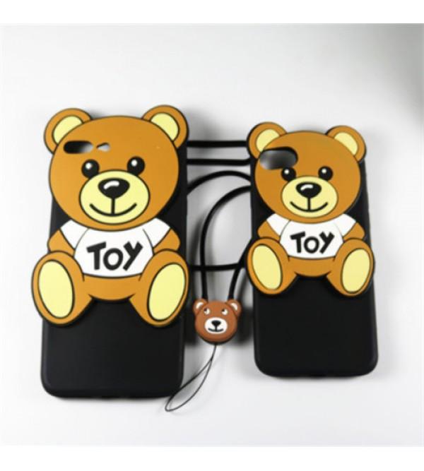 アイフォン7プラスカバー モスキーノ iPhone6/6s plusケース 可愛い熊柄 アイフォンシリーズケース iPhone8ケース シリコン製 iPhone5/5s/se ストラップ付き