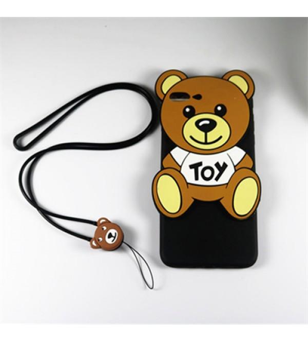 iphone 12ケースアイフォン7プラスカバー モスキーノ iPhone6/6s plusケース 可愛い熊柄 アイフォンシリーズケース iPhone8ケース シリコン製 iPhone5/5s/se ストラップ付き